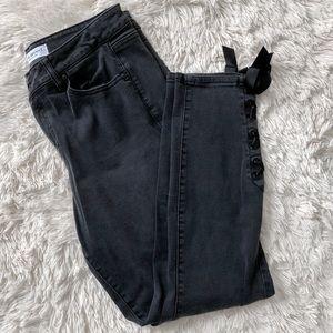 Lane Bryant Black Lace Up Ankle Criss Cross Jeans
